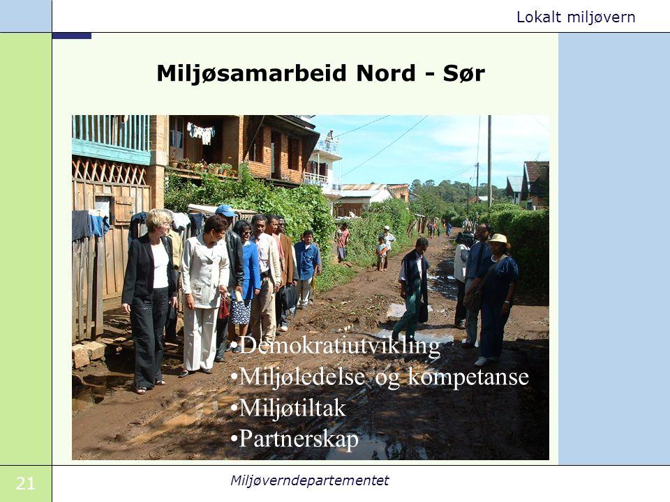 21 Miljøverndepartementet Lokalt miljøvern Miljøsamarbeid Nord - Sør Demokratiutvikling Miljøledelse og kompetanse Miljøtiltak Partnerskap