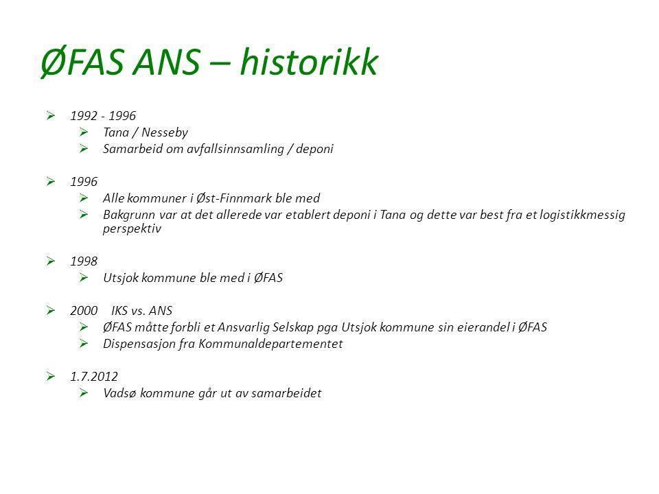 ØFAS ANS – historikk  1992 - 1996  Tana / Nesseby  Samarbeid om avfallsinnsamling / deponi  1996  Alle kommuner i Øst-Finnmark ble med  Bakgrunn var at det allerede var etablert deponi i Tana og dette var best fra et logistikkmessig perspektiv  1998  Utsjok kommune ble med i ØFAS  2000IKS vs.