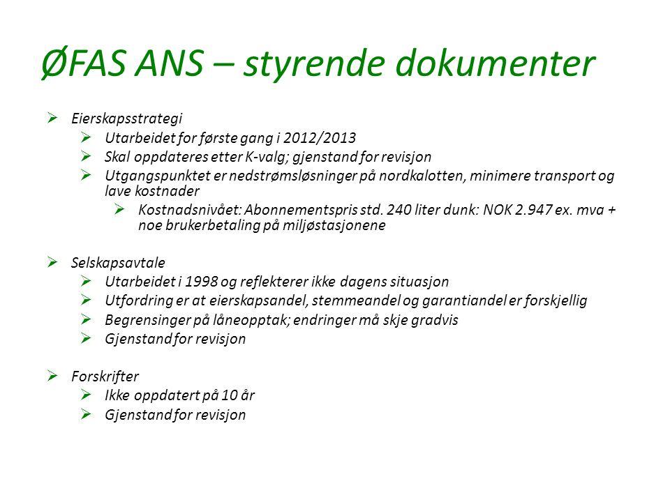 ØFAS ANS – styrende dokumenter  Eierskapsstrategi  Utarbeidet for første gang i 2012/2013  Skal oppdateres etter K-valg; gjenstand for revisjon  U