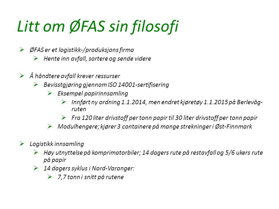 Litt om ØFAS sin filosofi  ØFAS er et logistikk-/produksjons firma  Hente inn avfall, sortere og sende videre  Å håndtere avfall krever ressurser  Bevisstgjøring gjennom ISO 14001-sertifisering  Eksempel papirinnsamling  Innført ny ordning 1.1.2014, men endret kjøretøy 1.1.2015 på Berlevåg- ruten  Fra 120 liter drivstoff per tonn papir til 30 liter drivstoff per tonn papir  Modulhengere; kjører 3 containere på mange strekninger i Øst-Finnmark  Logistikk innsamling  Høy utnyttelse på komprimatorbiler; 14 dagers rute på restavfall og 5/6 ukers rute på papir  14 dagers syklus i Nord-Varanger:  7,7 tonn i snitt på rutene