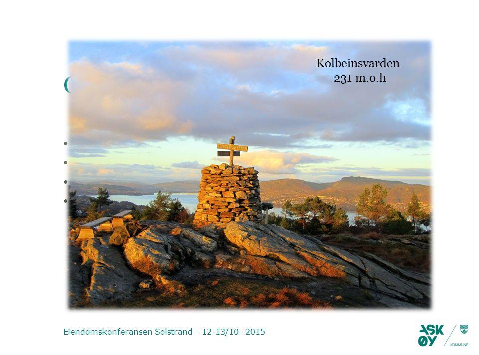 Oppfølging (forts.) Selvkostfond skal utjevnes over 3-5 år Selvkostanalyser foretas 2 ganger per år Utarbeide gode rutiner og kontroll Forvaltningsrevisjon Eiendomskonferansen Solstrand - 12-13/10- 2015 Kolbeinsvarden 231 m.o.h
