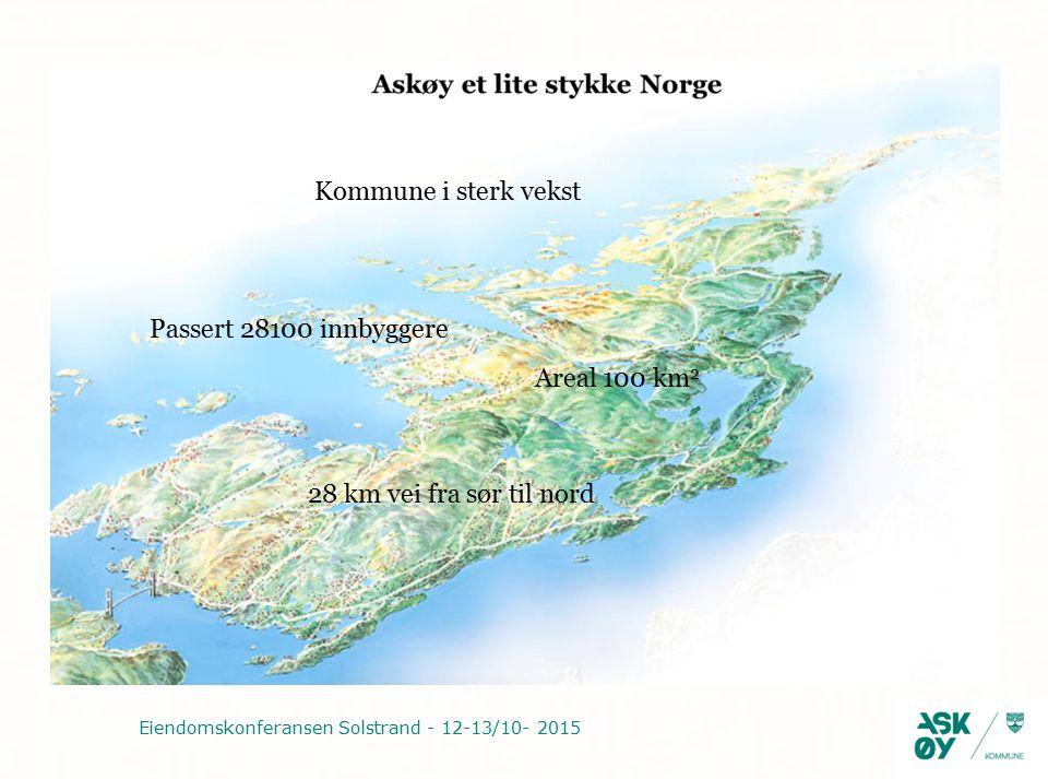 Eiendomskonferansen Solstrand - 12-13/10- 2015 Passert 28100 innbyggere Kommune i sterk vekst 28 km vei fra sør til nord Areal 100 km 2