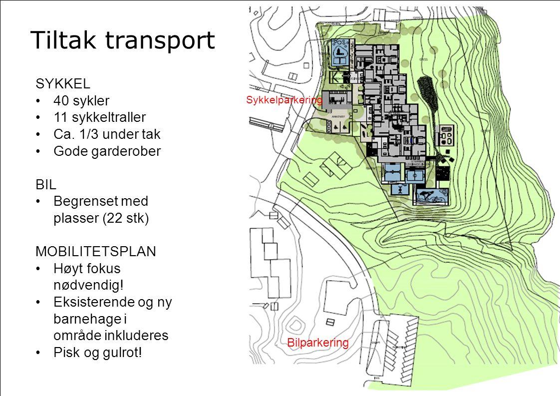 Bilparkering Sykkelparkering SYKKEL 40 sykler 11 sykkeltraller Ca. 1/3 under tak Gode garderober BIL Begrenset med plasser (22 stk) MOBILITETSPLAN Høy