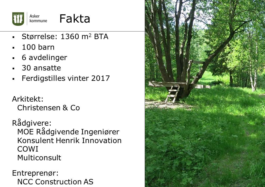 Fakta  Størrelse: 1360 m 2 BTA  100 barn  6 avdelinger  30 ansatte  Ferdigstilles vinter 2017 Arkitekt: Christensen & Co Rådgivere: MOE Rådgivend