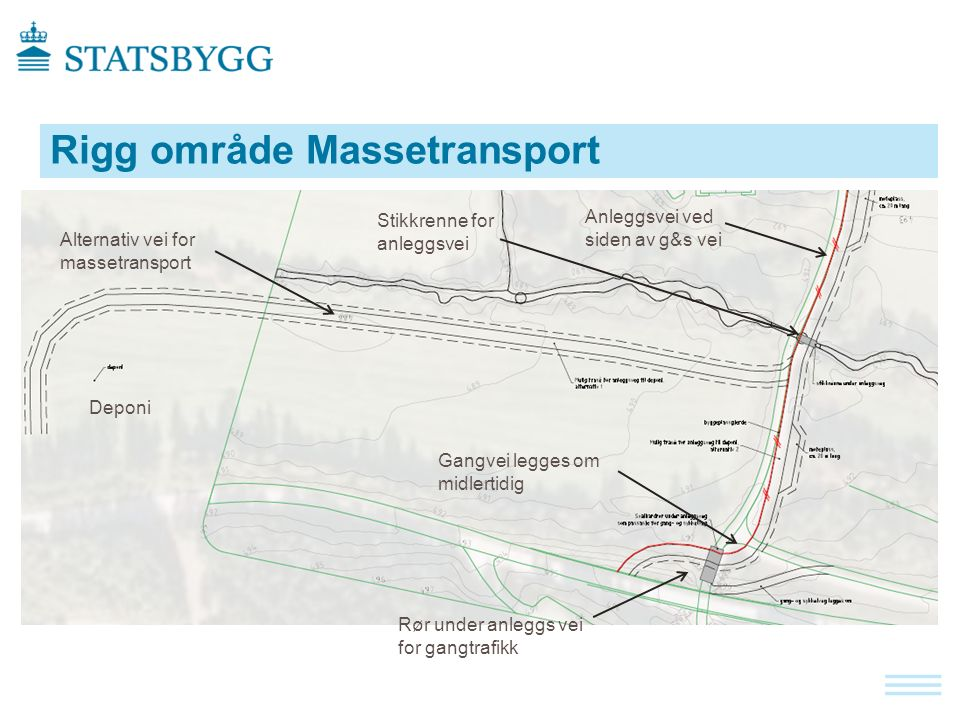 Rigg område Massetransport Anleggsvei ved siden av g&s vei Rør under anleggs vei for gangtrafikk Deponi Alternativ vei for massetransport Gangvei legges om midlertidig Stikkrenne for anleggsvei