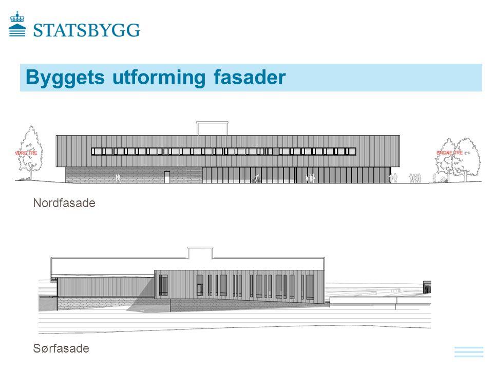 Byggets utforming fasader Nordfasade Sørfasade