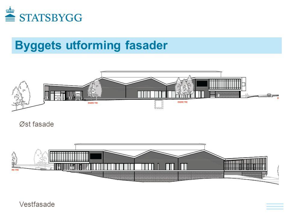 Byggets utforming fasader Øst fasade Vestfasade