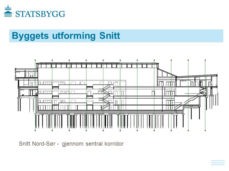 Byggets utforming Snitt Snitt Nord-Sør - gjennom sentral korridor