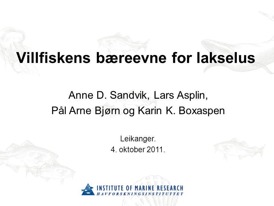 Villfiskens bæreevne for lakselus Anne D.Sandvik, Lars Asplin, Pål Arne Bjørn og Karin K.