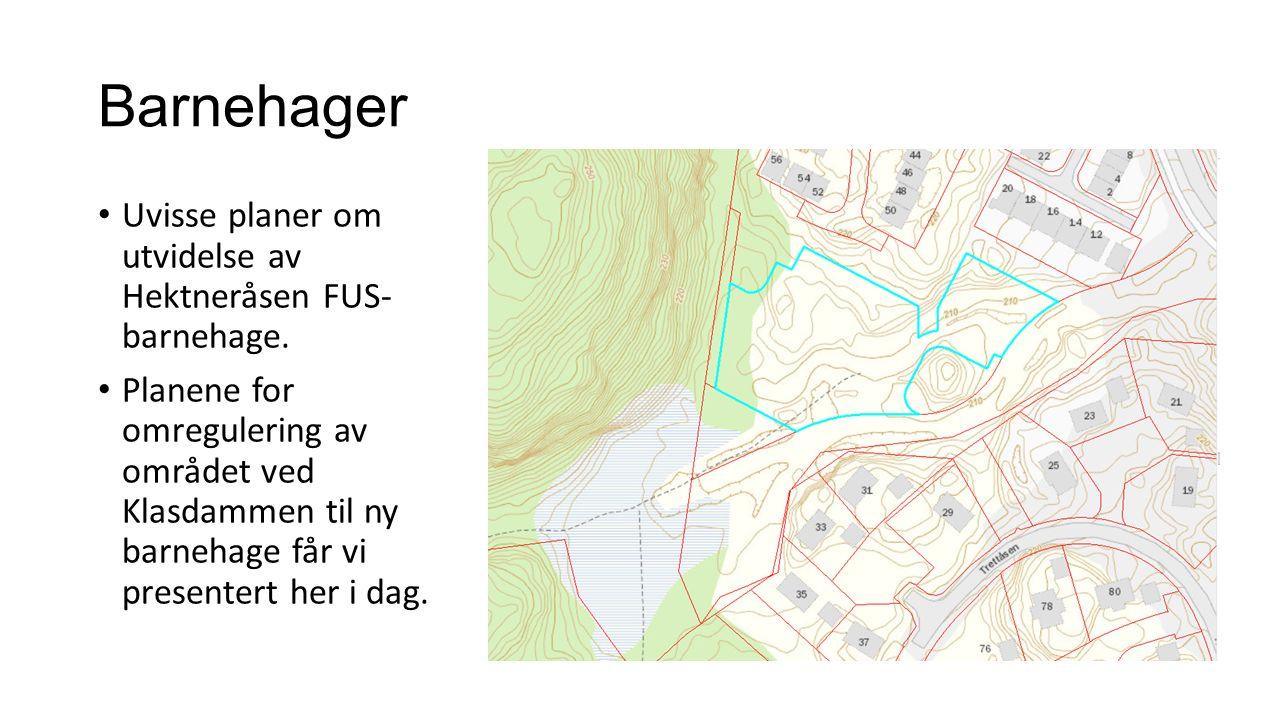 Barnehager Uvisse planer om utvidelse av Hektneråsen FUS- barnehage.