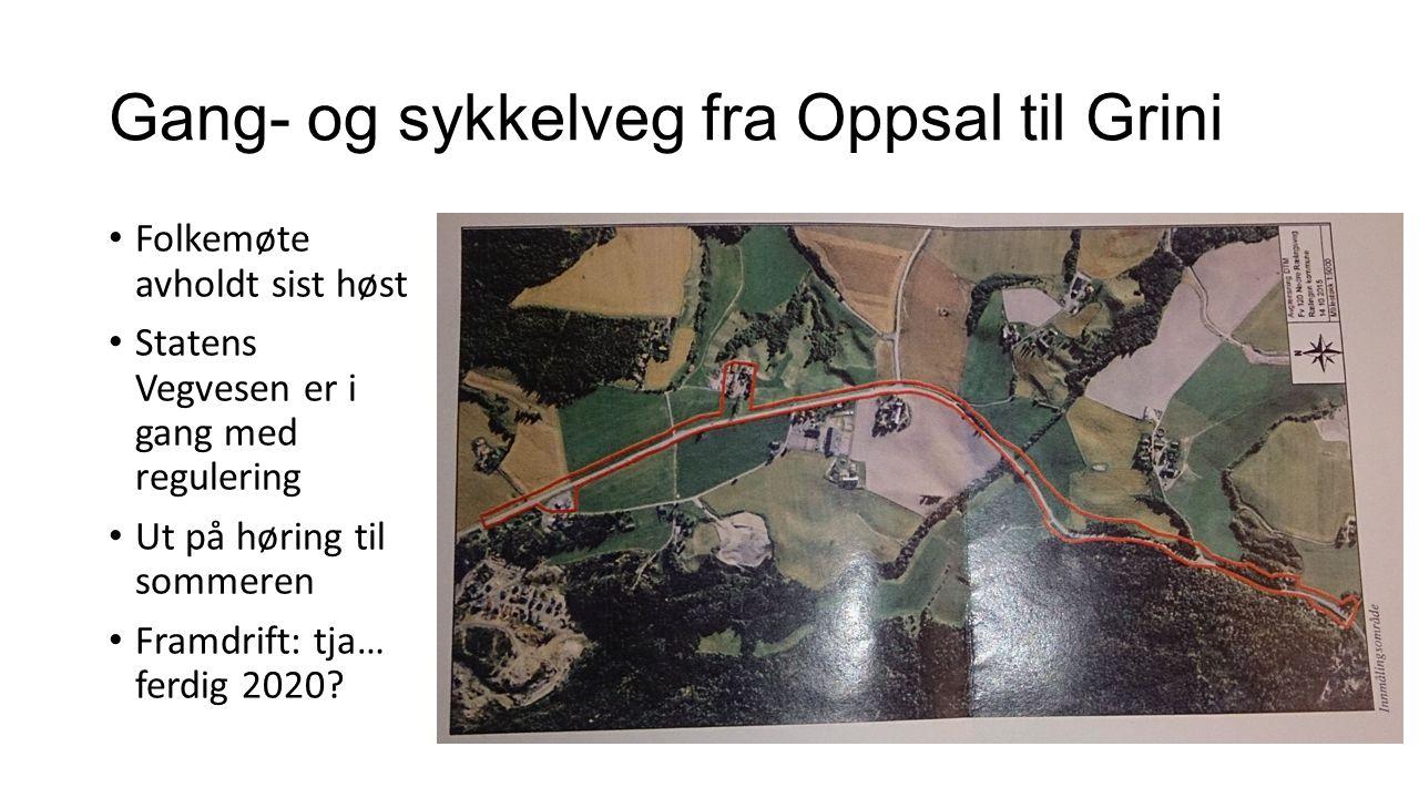 Gang- og sykkelveg fra Oppsal til Grini Folkemøte avholdt sist høst Statens Vegvesen er i gang med regulering Ut på høring til sommeren Framdrift: tja
