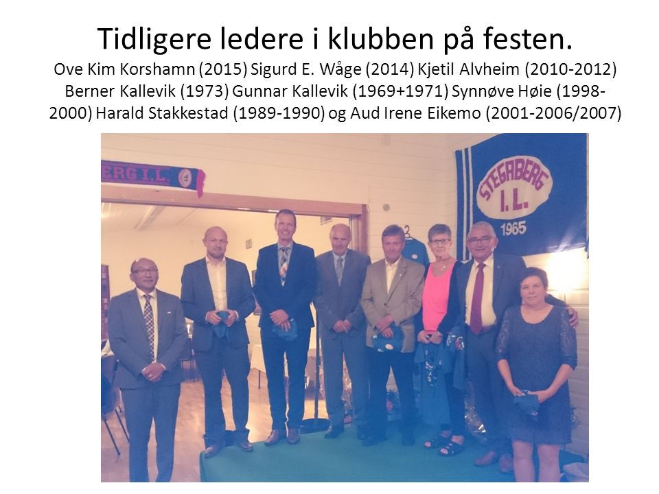 Tidligere ledere i klubben på festen. Ove Kim Korshamn (2015) Sigurd E. Wåge (2014) Kjetil Alvheim (2010-2012) Berner Kallevik (1973) Gunnar Kallevik