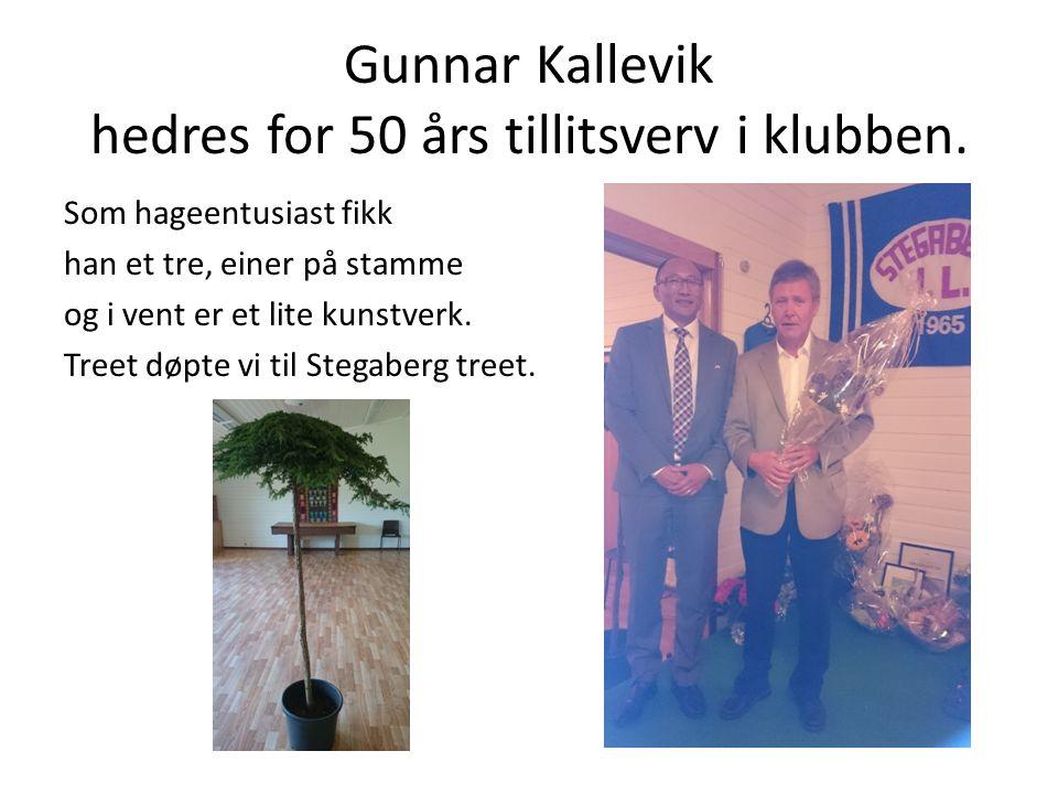 Gunnar Kallevik hedres for 50 års tillitsverv i klubben.