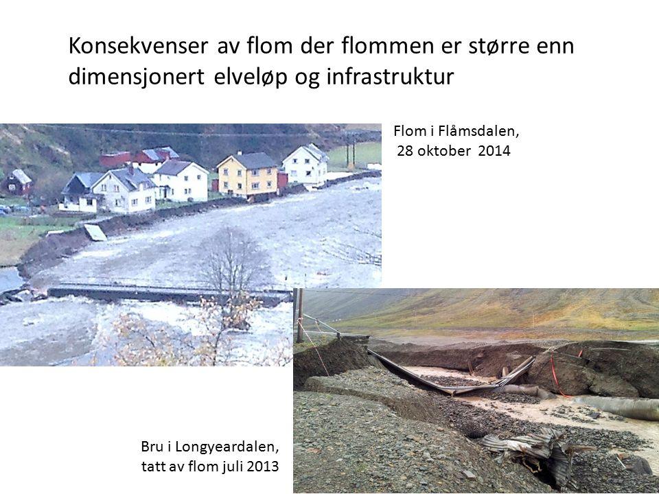 Konsekvenser av flom der flommen er større enn dimensjonert elveløp og infrastruktur Flom i Flåmsdalen, 28 oktober 2014 Bru i Longyeardalen, tatt av flom juli 2013