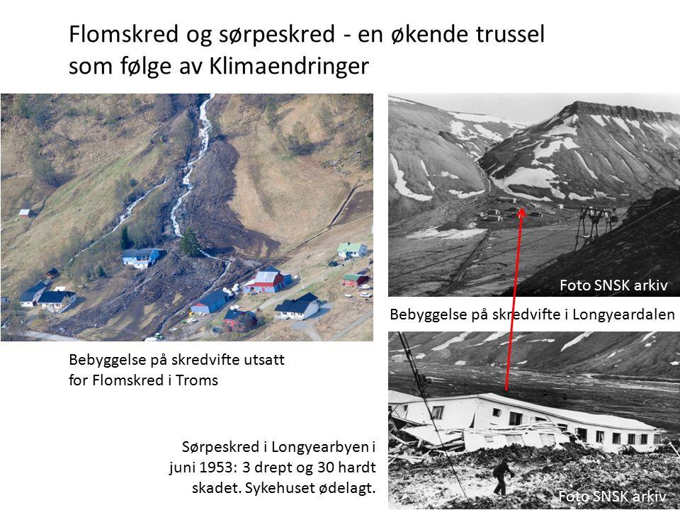 Flomskred og sørpeskred - en økende trussel som følge av Klimaendringer Bebyggelse på skredvifte utsatt for Flomskred i Troms Bebyggelse på skredvifte i Longyeardalen Foto SNSK arkiv Sørpeskred i Longyearbyen i juni 1953: 3 drept og 30 hardt skadet.