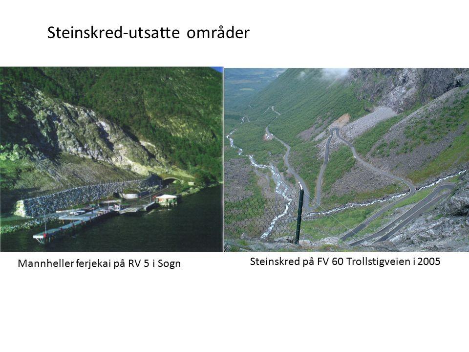 Steinskred-utsatte områder Mannheller ferjekai på RV 5 i Sogn Steinskred på FV 60 Trollstigveien i 2005