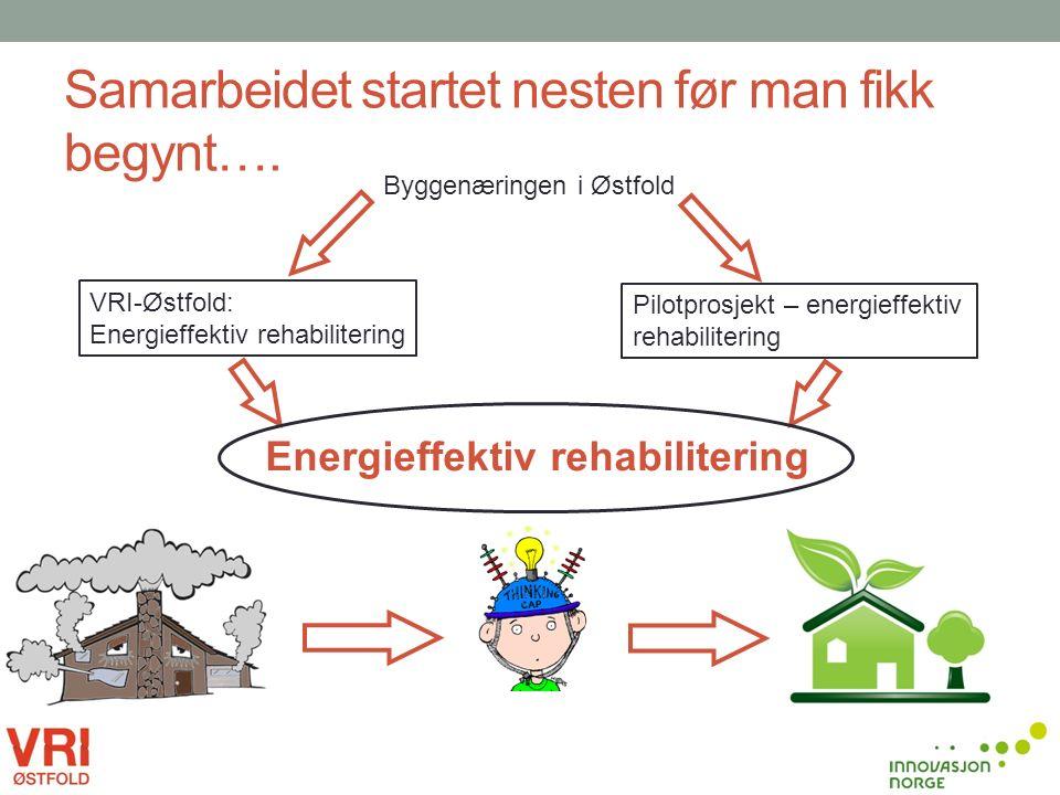 Samarbeidet startet nesten før man fikk begynt…. Pilotprosjekt – energieffektiv rehabilitering VRI-Østfold: Energieffektiv rehabilitering Byggenæringe