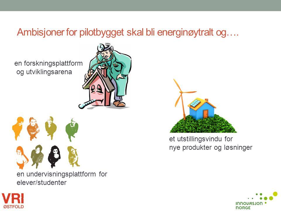 Ambisjoner for pilotbygget skal bli energinøytralt og…. en forskningsplattform og utviklingsarena en undervisningsplattform for elever/studenter et ut