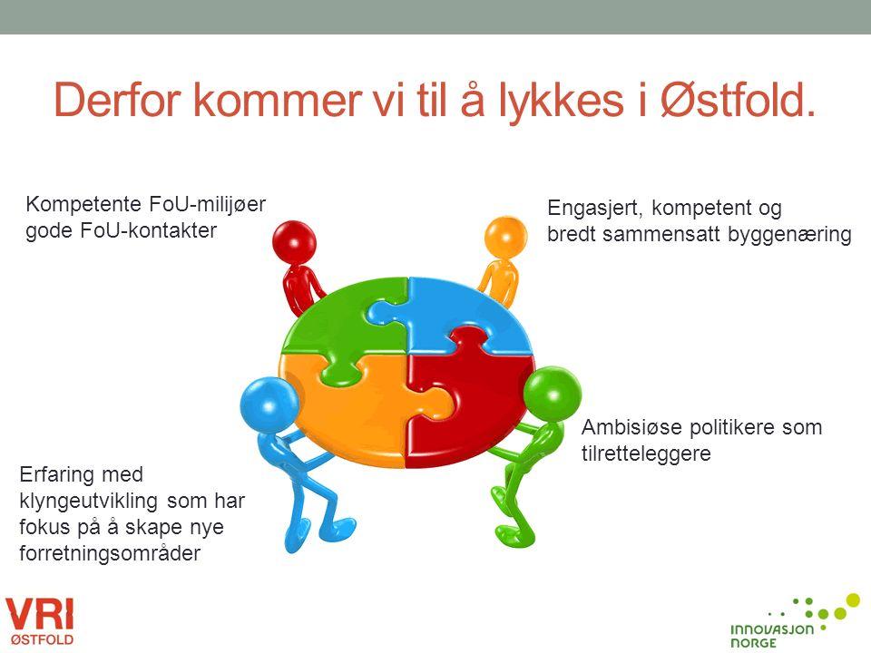 Derfor kommer vi til å lykkes i Østfold. Engasjert, kompetent og bredt sammensatt byggenæring Ambisiøse politikere som tilretteleggere Kompetente FoU-