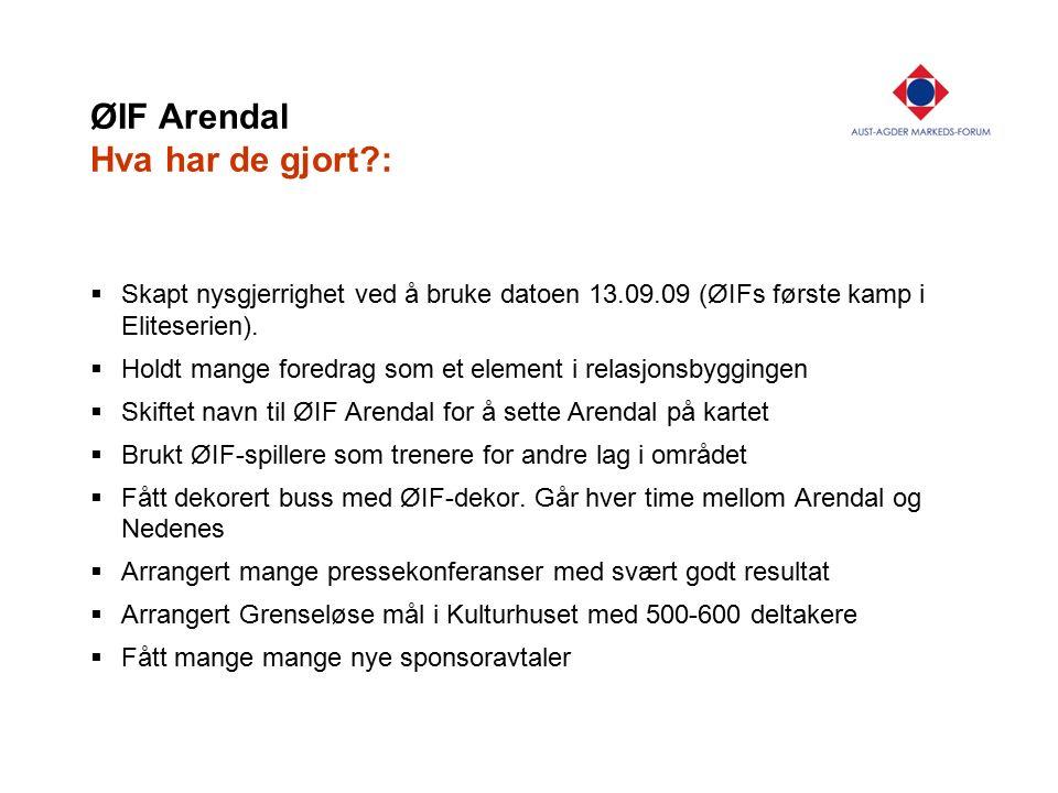 ØIF Arendal Hva har de gjort?:  Skapt nysgjerrighet ved å bruke datoen 13.09.09 (ØIFs første kamp i Eliteserien).  Holdt mange foredrag som et eleme