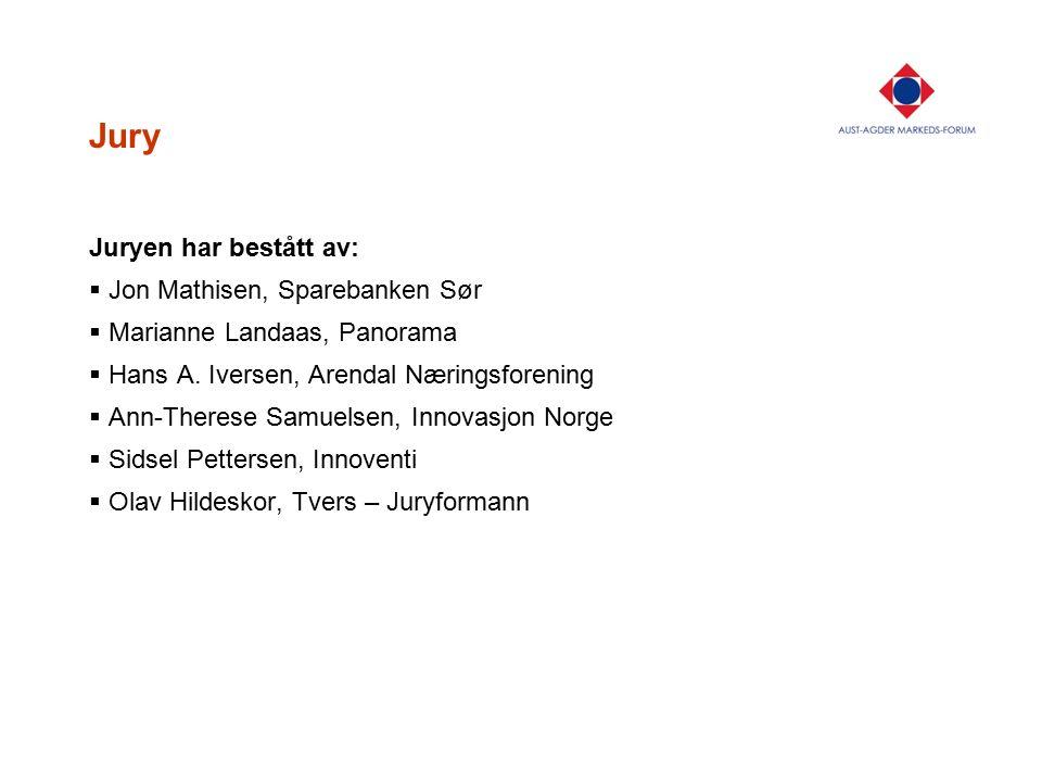 Jury Juryen har bestått av:  Jon Mathisen, Sparebanken Sør  Marianne Landaas, Panorama  Hans A. Iversen, Arendal Næringsforening  Ann-Therese Samu