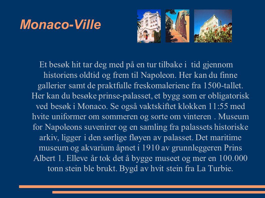 Monaco-Ville Et besøk hit tar deg med på en tur tilbake i tid gjennom historiens oldtid og frem til Napoleon. Her kan du finne gallerier samt de prakt
