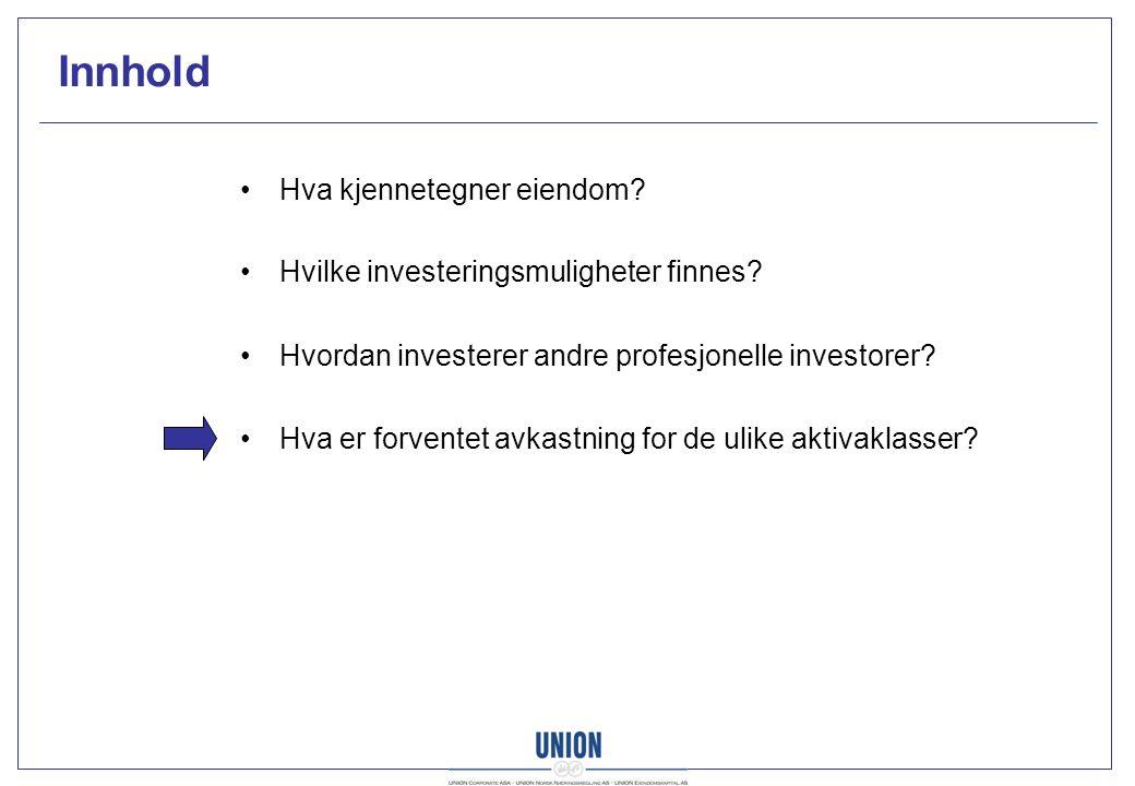 Innhold Hva kjennetegner eiendom. Hvilke investeringsmuligheter finnes.