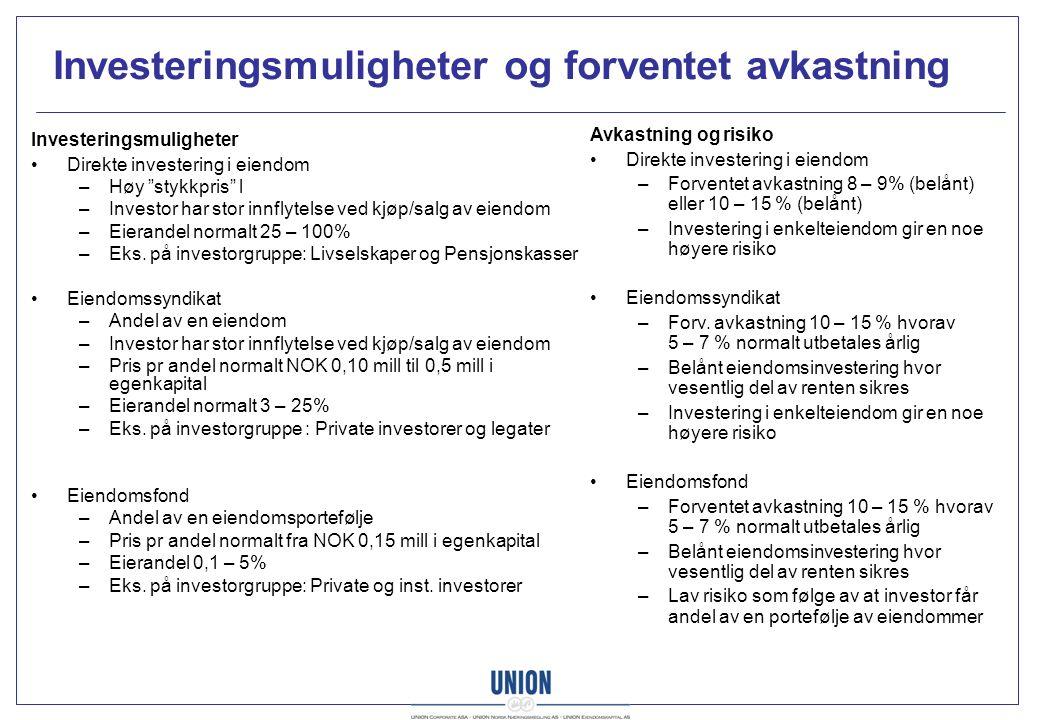 """Investeringsmuligheter og forventet avkastning Investeringsmuligheter Direkte investering i eiendom –Høy """"stykkpris"""" l –Investor har stor innflytelse"""