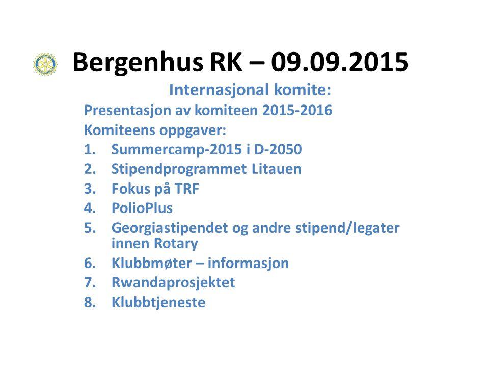 Bergenhus Rotary Klubb INTERNASJONAL KOMITÉ 2014-2015: Svein Milford Roland Jonsson Knut August Knutsen Erik Hjorth Knut Magne Dale Jan Spjeldnæs - komiteleder