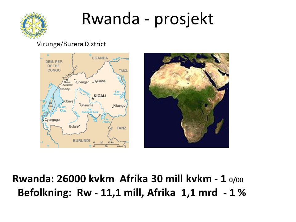 Rwanda - prosjekt Rwanda: kvkm Afrika 30 mill kvkm - 1 0/00 Befolkning: Rw - 11,1 mill, Afrika 1,1 mrd - 1 % Virunga/Burera District