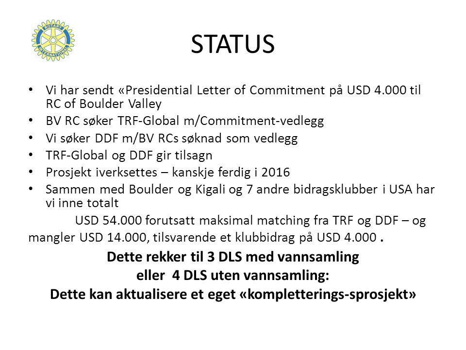 STATUS Vi har sendt «Presidential Letter of Commitment på USD 4.000 til RC of Boulder Valley BV RC søker TRF-Global m/Commitment-vedlegg Vi søker DDF m/BV RCs søknad som vedlegg TRF-Global og DDF gir tilsagn Prosjekt iverksettes – kanskje ferdig i 2016 Sammen med Boulder og Kigali og 7 andre bidragsklubber i USA har vi inne totalt USD 54.000 forutsatt maksimal matching fra TRF og DDF – og mangler USD 14.000, tilsvarende et klubbidrag på USD 4.000.