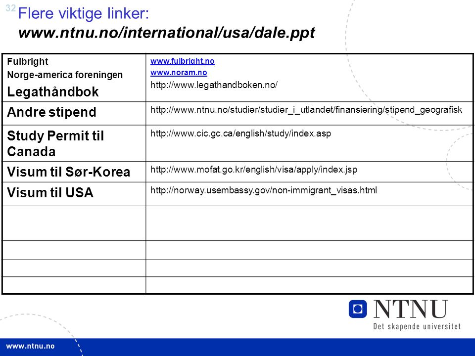 32 Flere viktige linker: www.ntnu.no/international/usa/dale.ppt Fulbright Norge-america foreningen Legathåndbok www.fulbright.no www.noram.no http://www.legathandboken.no/ Andre stipend http://www.ntnu.no/studier/studier_i_utlandet/finansiering/stipend_geografisk Study Permit til Canada http://www.cic.gc.ca/english/study/index.asp Visum til Sør-Korea http://www.mofat.go.kr/english/visa/apply/index.jsp Visum til USA http://norway.usembassy.gov/non-immigrant_visas.html