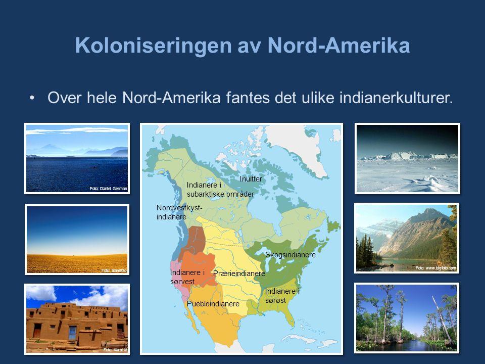 Koloniseringen av Nord-Amerika Over hele Nord-Amerika fantes det ulike indianerkulturer.