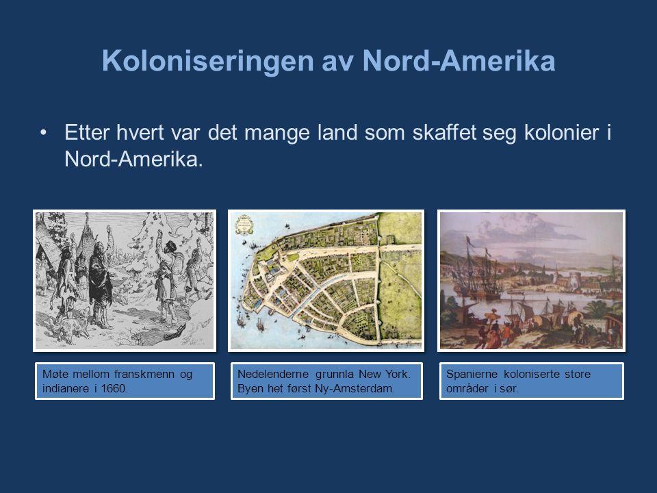 Koloniseringen av Nord-Amerika Etter hvert var det mange land som skaffet seg kolonier i Nord-Amerika.