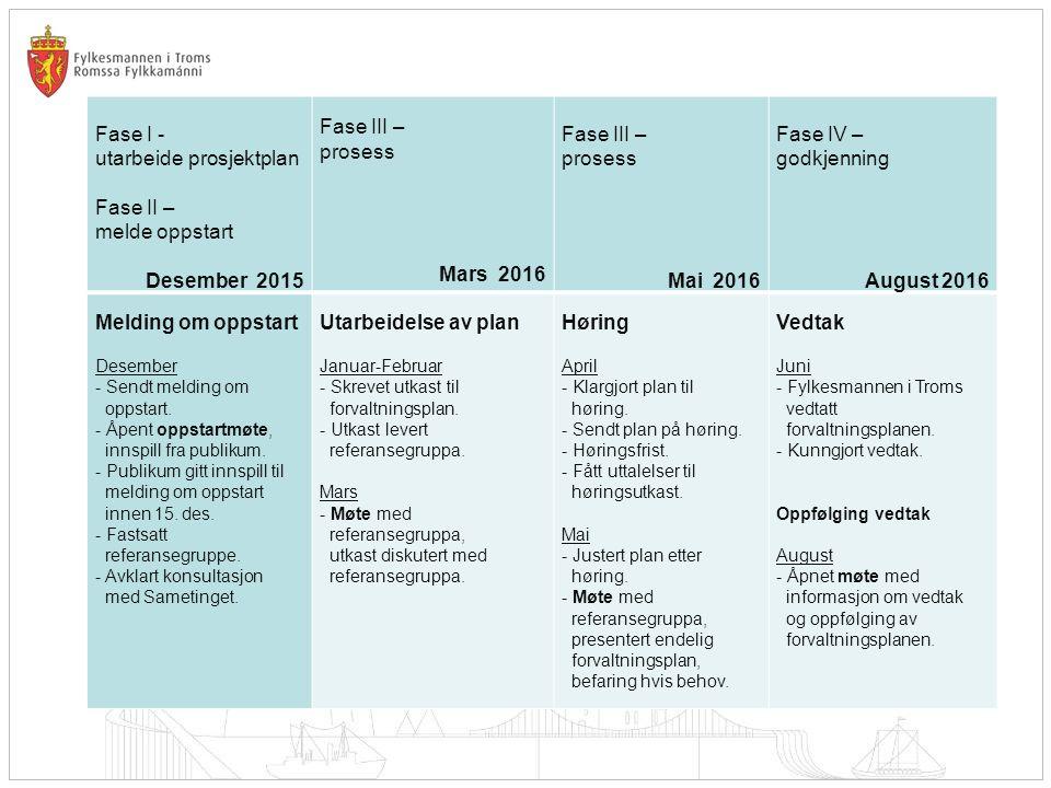 Fase I - utarbeide prosjektplan Fase II – melde oppstart Desember 2015 Fase III – prosess Mars 2016 Fase III – prosess Mai 2016 Fase IV – godkjenning August 2016 Melding om oppstart Desember - Sendt melding om oppstart.