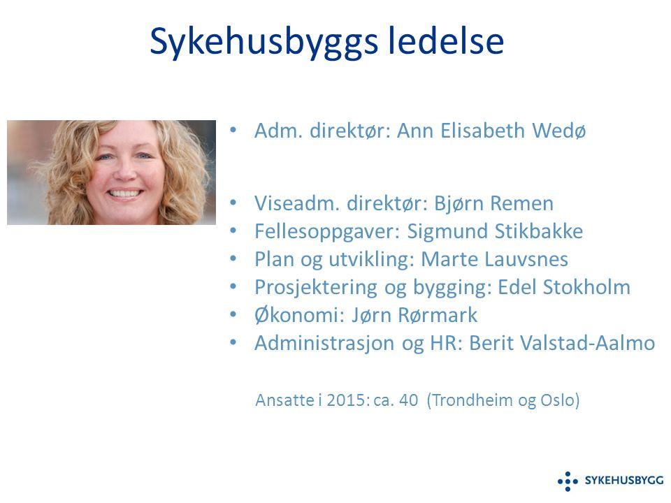 Sykehusbyggs ledelse Adm. direktør: Ann Elisabeth Wedø Viseadm.