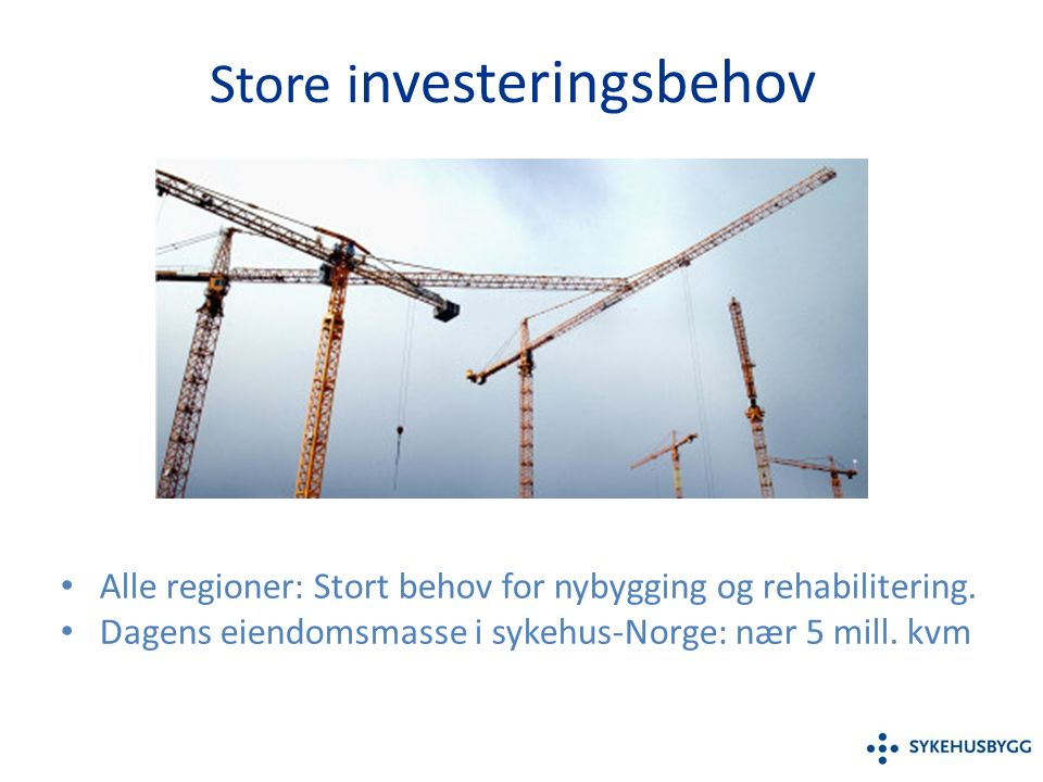 Store i nvesteringsbehov Alle regioner: Stort behov for nybygging og rehabilitering.