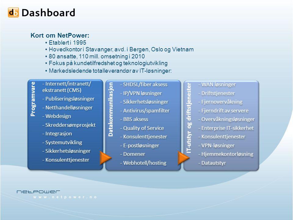 Kort om NetPower: Etablert i 1995 Hovedkontor i Stavanger, avd.