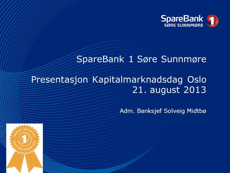 SpareBank 1 Søre Sunnmøre SpareBank 1 Søre Sunnmøre, 160 år, sjølvstendig 6 kontor med hovudkontorfunksjon i Volda 70 tilsette, 68,6 årsverk God soliditet og inntening A minus rating (DNB) Forvaltningskapital 8,187 mrd.