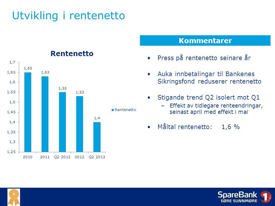 Utvikling i rentenetto Press på rentenetto seinare år Auka innbetalingar til Bankenes Sikringsfond reduserer rentenetto Stigande trend Q2 isolert mot Q1 –Effekt av tidlegare renteendringar, seinast april med effekt i mai Måltal rentenetto: 1,6 % Kommentarer