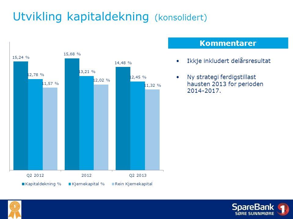 Utvikling kapitaldekning (konsolidert) Ikkje inkludert delårsresultat Ny strategi ferdigstillast hausten 2013 for perioden 2014-2017.