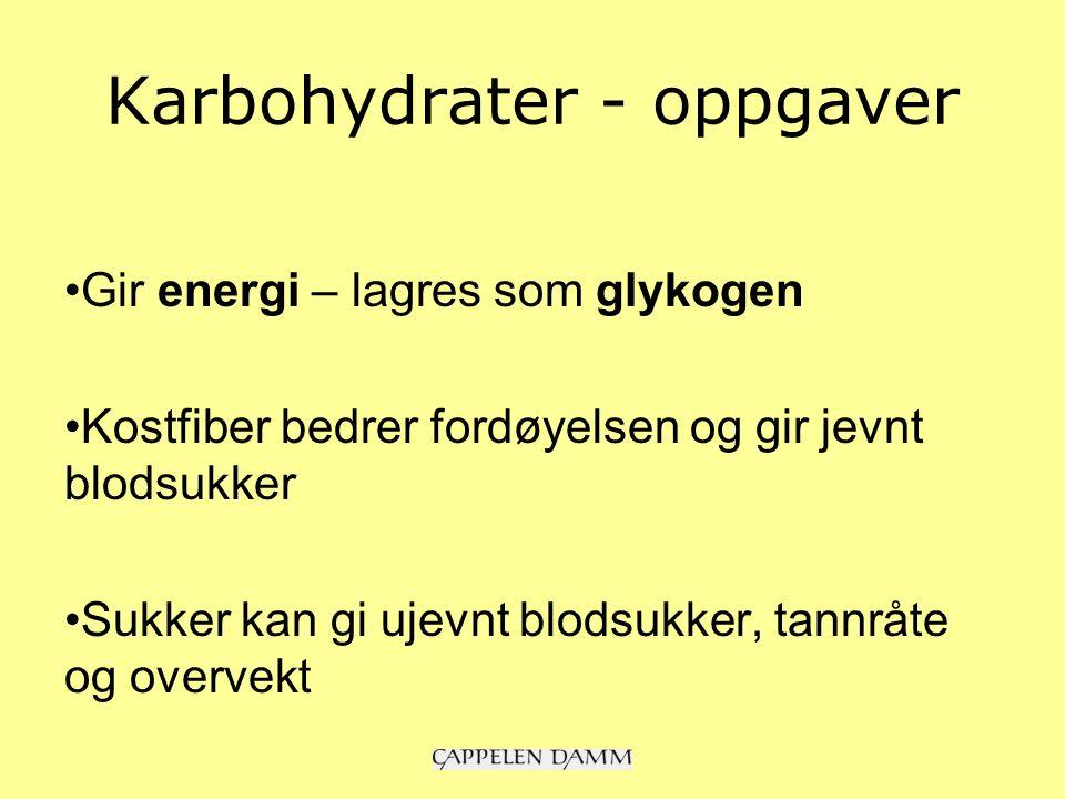 Karbohydrater - oppgaver Gir energi – lagres som glykogen Kostfiber bedrer fordøyelsen og gir jevnt blodsukker Sukker kan gi ujevnt blodsukker, tannråte og overvekt