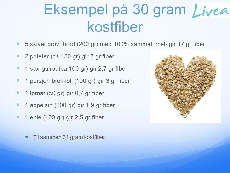 Eksempel på 30 gram kostfiber 5 skiver grovt brød (200 gr) med 100% sammalt mel- gir 17 gr fiber 2 poteter (ca 150 gr) gir 3 gr fiber 1 stor gulrot (ca 100 gr) gir 2,7 gr fiber 1 porsjon brokkoli (100 gr) gir 3 gr fiber 1 tomat (50 gr) gir 0,7 gr fiber 1 appelsin (100 gr) gir 1,9 gr fiber 1 eple (100 gr) gir 2,5 gr fiber Til sammen 31 gram kostfiber