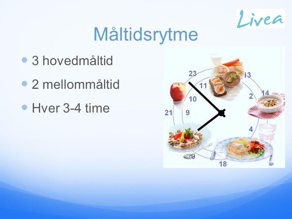 Måltidsrytme 3 hovedmåltid 2 mellommåltid Hver 3-4 time