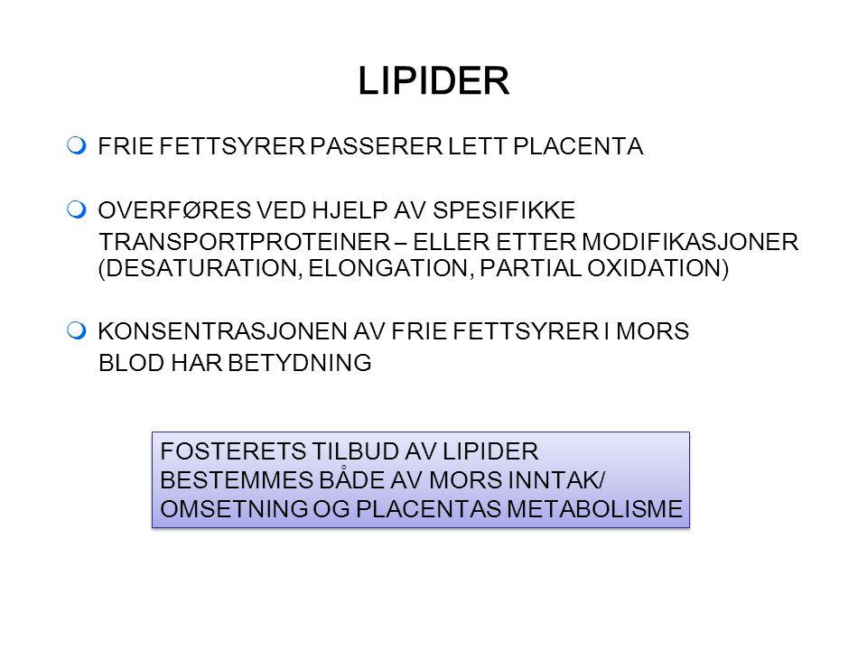 LIPIDER  FRIE FETTSYRER PASSERER LETT PLACENTA  OVERFØRES VED HJELP AV SPESIFIKKE TRANSPORTPROTEINER – ELLER ETTER MODIFIKASJONER (DESATURATION, ELONGATION, PARTIAL OXIDATION)  KONSENTRASJONEN AV FRIE FETTSYRER I MORS BLOD HAR BETYDNING FOSTERETS TILBUD AV LIPIDER BESTEMMES BÅDE AV MORS INNTAK/ OMSETNING OG PLACENTAS METABOLISME FOSTERETS TILBUD AV LIPIDER BESTEMMES BÅDE AV MORS INNTAK/ OMSETNING OG PLACENTAS METABOLISME