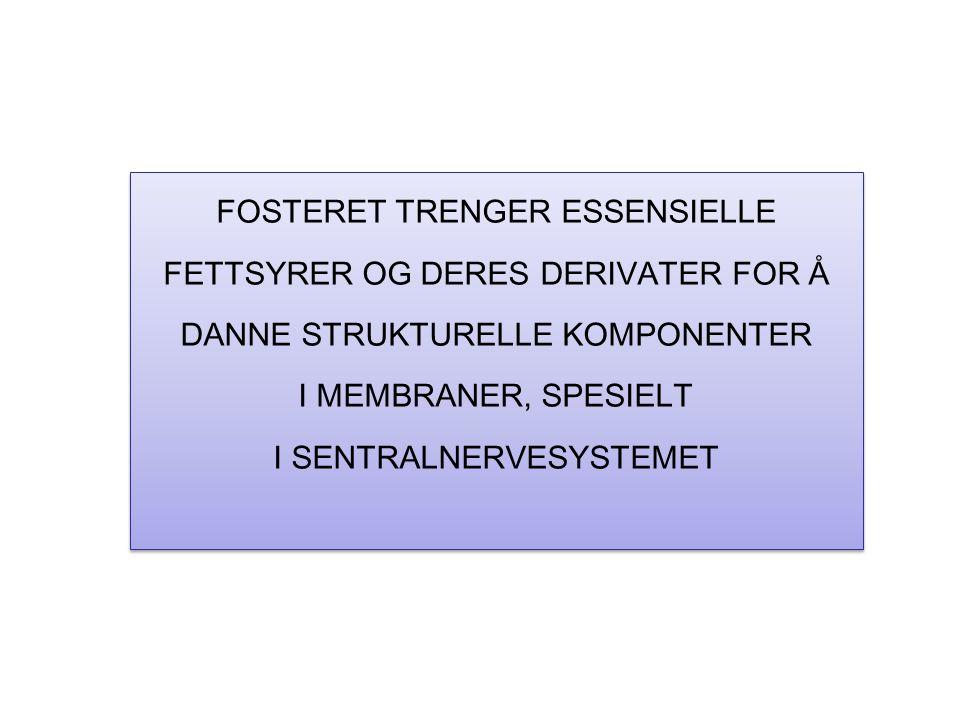 FOSTERET TRENGER ESSENSIELLE FETTSYRER OG DERES DERIVATER FOR Å DANNE STRUKTURELLE KOMPONENTER I MEMBRANER, SPESIELT I SENTRALNERVESYSTEMET FOSTERET TRENGER ESSENSIELLE FETTSYRER OG DERES DERIVATER FOR Å DANNE STRUKTURELLE KOMPONENTER I MEMBRANER, SPESIELT I SENTRALNERVESYSTEMET