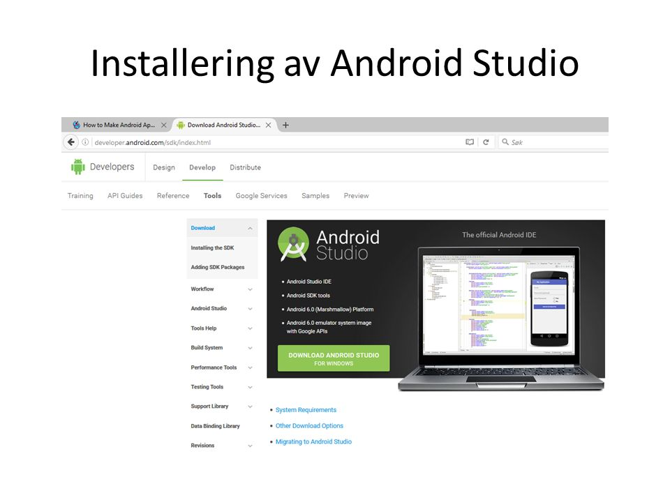 Installering av Android Studio