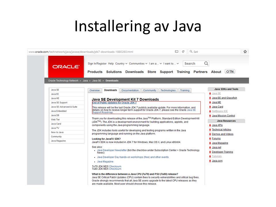Installering av Java