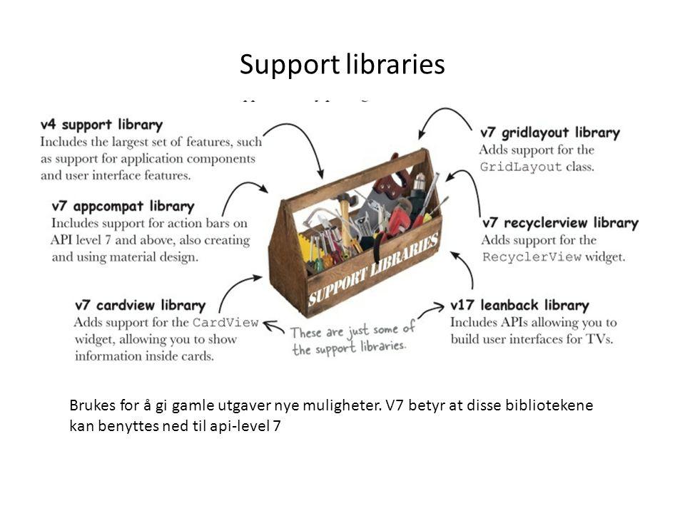 Support libraries Brukes for å gi gamle utgaver nye muligheter. V7 betyr at disse bibliotekene kan benyttes ned til api-level 7