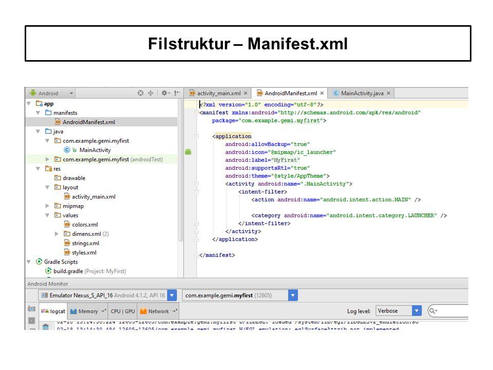 Filstruktur – Manifest.xml